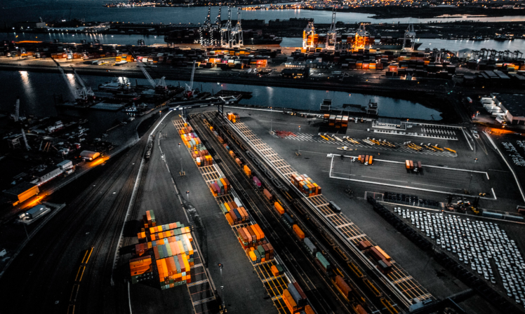 shipping port at night in the uk